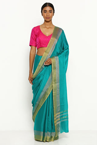 Teal Blue Pure Crepe Saree with Silver and Gold Zari Border