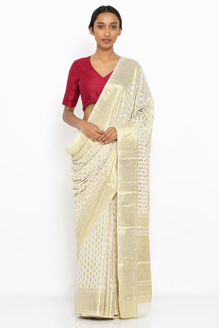 White Georgette Banarasi Saree with Allover Gold Motif