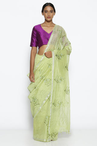 Light Green Linen Silk Saree with All Over Botanical Embroidery