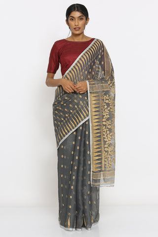 Grey Jamdani Saree with Beige Self Weave Motif and Temple Border