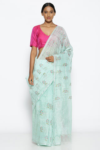 Sea Green Linen Saree with All Over Floral Embroidery