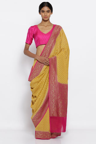 Golden Yellow Handloom Pure Georgette Banarasi Saree with All Over Gold Motifs and a Rich Detailed Border