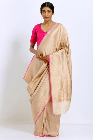 Beige Handloom Pure Silk Banarasi Saree with Intricate Allover Handwoven Zari Work