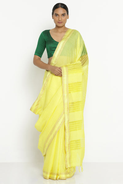 Via East yellow handloom pure cotton kota saree with all over checked pattern
