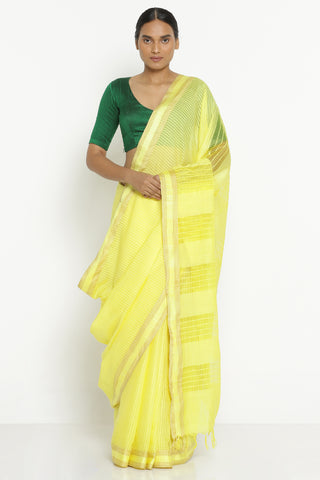 Yellow Handloom Pure Cotton Kota Saree with All Over Checked Pattern