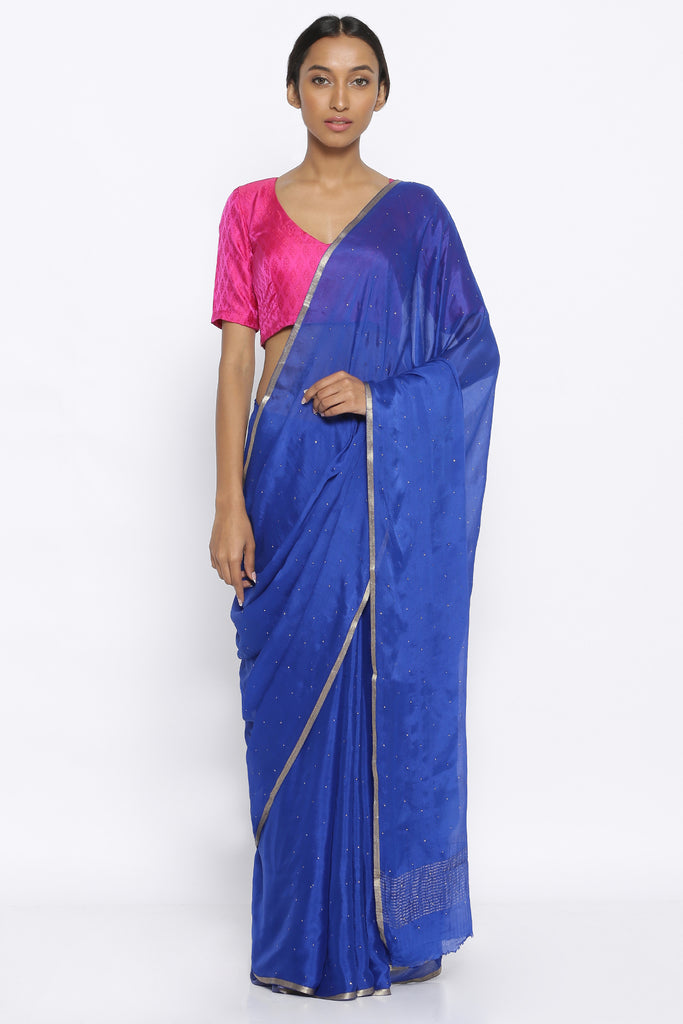 Cobalt Blue Pure Crepe Saree with  Mukaish Work and Gold Zari Border