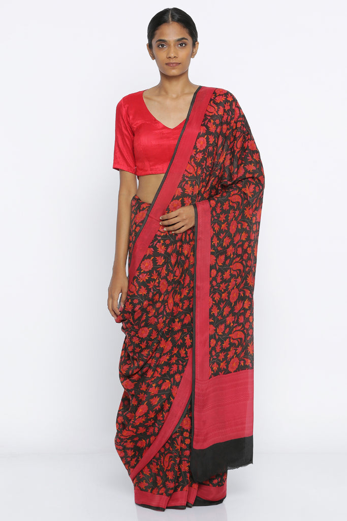 Black Pure Crepe Saree with All Over Red Digital Floral Print