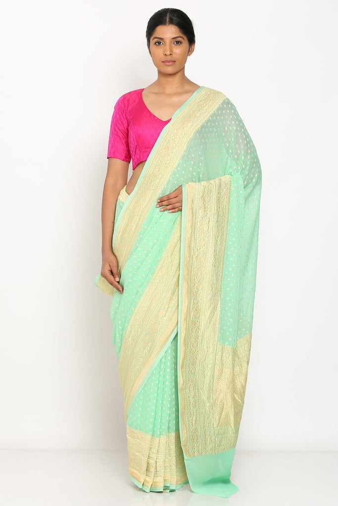 Light Green Handloom Pure Georgette Banarasi Saree with All Over Zari Motif and Rich Border