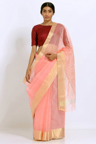 Peach Handloom Pure Silk Organza Saree with Pure Gold Zari Border and Rich Pallu