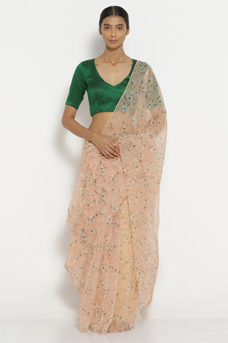 Peach Organza Sheer Saree with All Over Floral Print