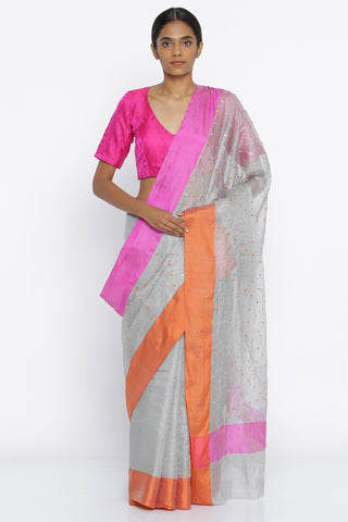 Light Grey Handloom Pure Kota Silk Saree with All Over Embroidered Mirror Work and Contrast Border