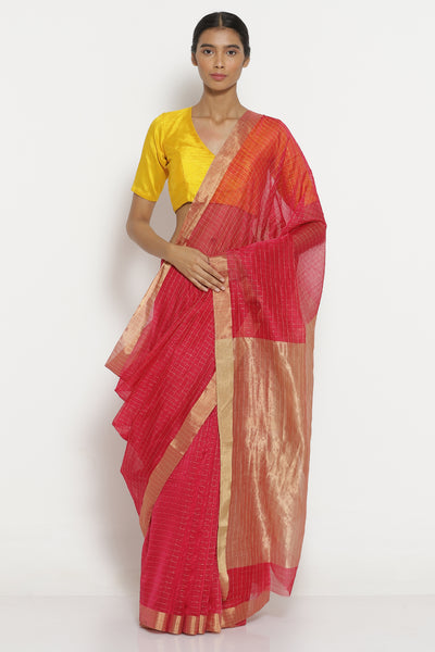 Via East vibrant pink handloom pure silk cotton chanderi saree with all over zari checks