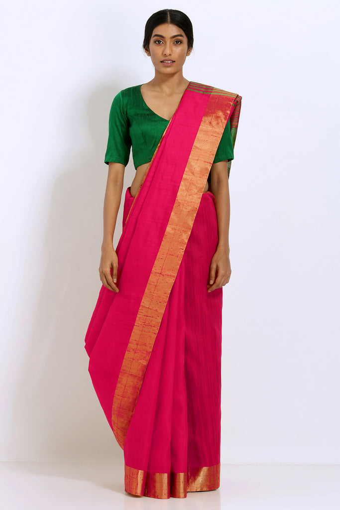 Dark Pink Handloom Pure Raw Silk Saree with Gold Zari Border and Striped Pallu