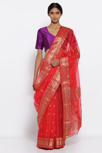 Via East red handloom pure silk chanderi sheer saree with all over zari motifs and rich zari border
