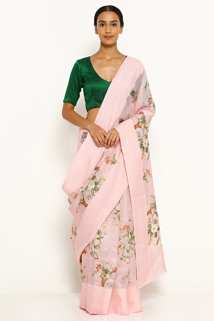 Pink Pure Kota Silk Saree with All Over Floral Print
