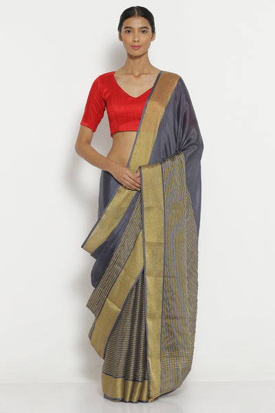 Via East blue grey pure crepe saree with gold zari striped pattern