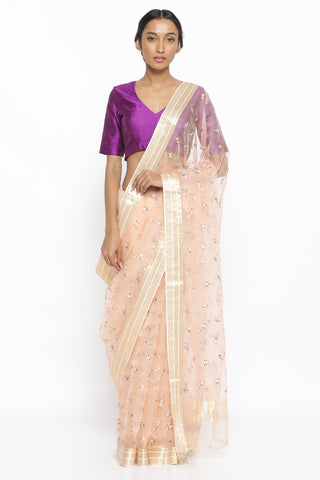 Light Pink Handloom Pure Silk-Organza Sheer Saree with All Over Floral Embroidery and Gold Zari Border
