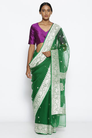 Deep Green Pure Chiffon Banarasi Saree with Intricate Silver Zari Border