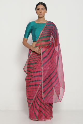 Pink and Green Pure Silk Kota Saree with Traditional Leheriya Pattern