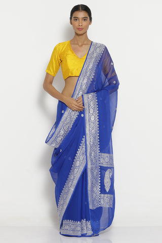 Ink Blue Handloom Pure Chiffon Banarasi Saree with All Over Silver Zari Motifs