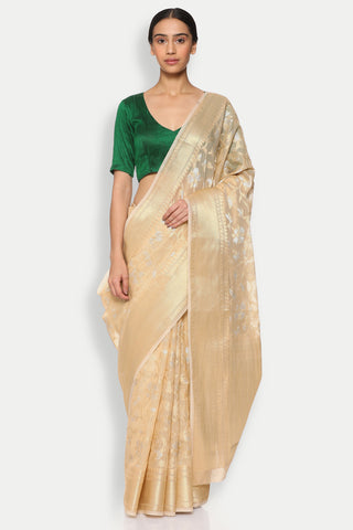 Gold-Beige Cotton Banarasi Saree with All Over Floral Jaal