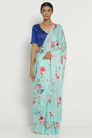 Azure Blue Silk Satin Saree with All Over Floral Print