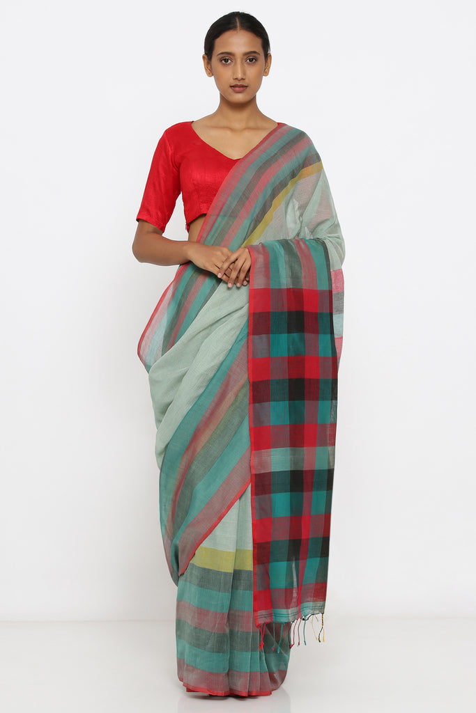 Green Handloom Pure Cotton Saree with Checked Woven Border