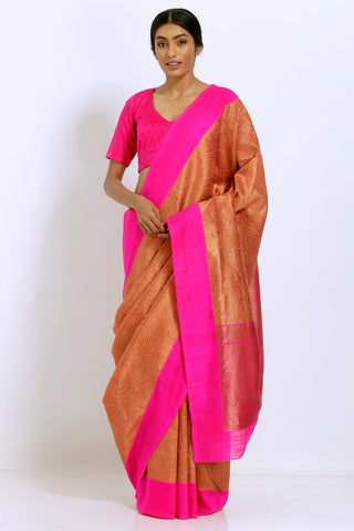 Peach Gold Handloom Pure Silk Tanchoi Saree with All Over Zari Work