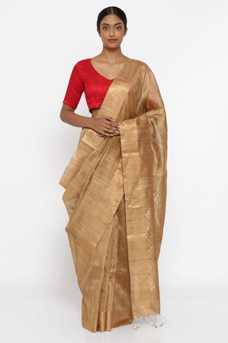 Golden Brown Handloom Pure Matka Silk Saree with Gold Zari Border and Detailed Pallu