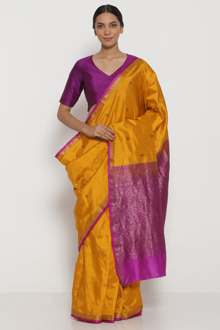 Deep Yellow Handloom Pure Silk Banarasi Saree with Antique Gold Zari Border and Striking Blouse