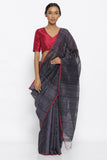 Laqeur Grey Handloom Pure Matka Silk Saree with Red Woven Border