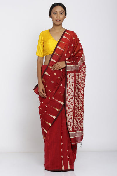 Via East indian red handloom pure cotton saree with all over zari motif and rich pallu