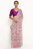 Grey Pure Wrinkled Chiffon Saree with All Over Floral Print