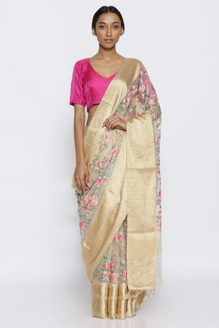 Off White Pure Silk Organza Sheer Saree with All Over Embroidered Floral Jaal and Detailed Border