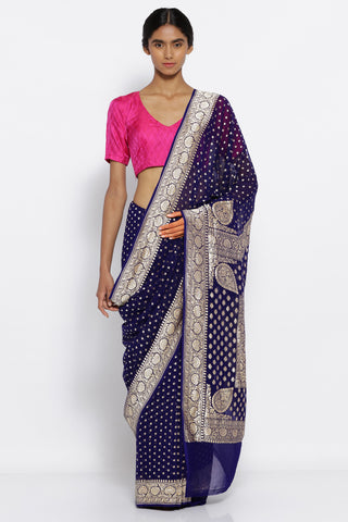 Indigo Blue Handloom Pure Georgette Banarasi Saree with All Over Gold Motifs and a Rich Detailed Border