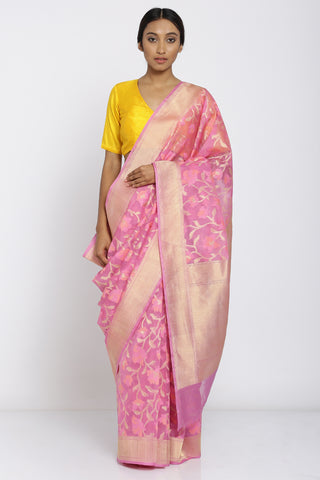 Pink Handloom Pure Silk Saree with All Over Handwoven Floral Jaal and Rich Pallu