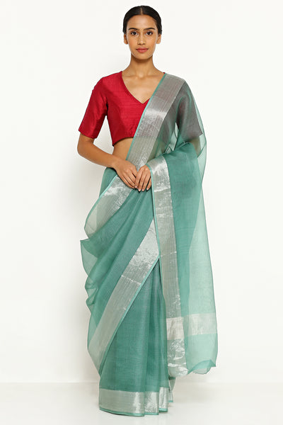 Via East turquoise green pure silk kota saree with silver zari border