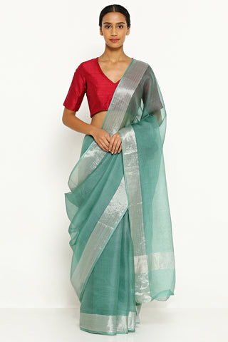 Turquoise Green Pure Silk Kota Saree with Silver Zari Border