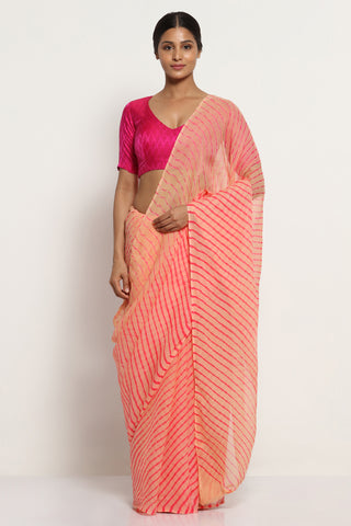 Pale Peach Pure Chiffon Saree with Traditional Leheriya Print