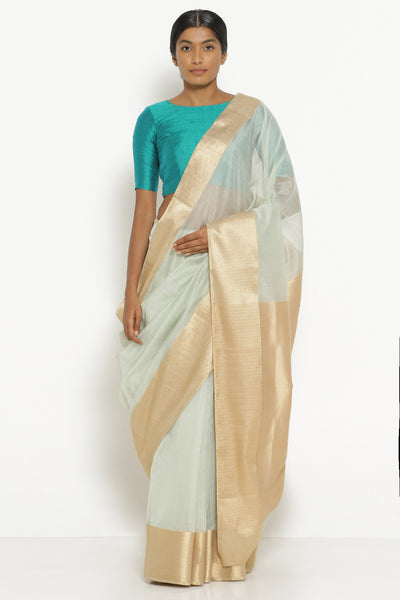 Via East mist green handloom silk cotton chanderi saree with rich gold border