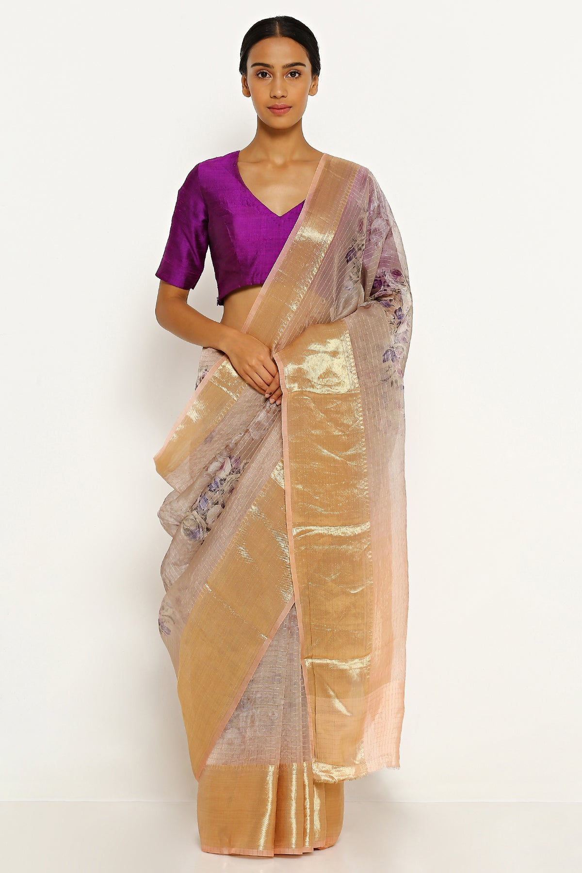 0a12140a7c Light Peach Pure Silk Organza Saree with All Over Floral Print and All Over  Gold Zari