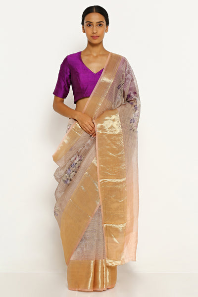 Via East light peach pure silk organza saree with all over floral print and all over gold zari checks