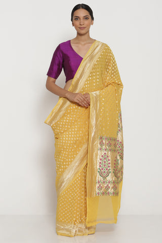 Yellow Handloom Pure Silk-Georgette Banarasi Saree with All Over Intricate Gold Zari Motifs
