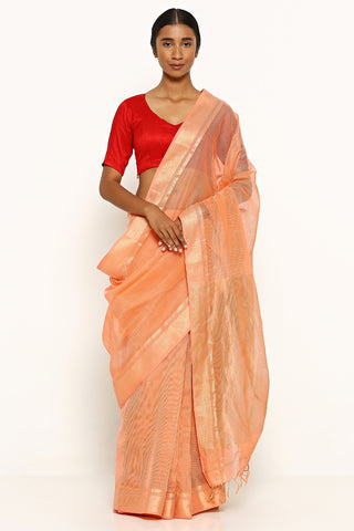 Peach Handloom Silk Cotton Maheshwari with Gold Zari Border