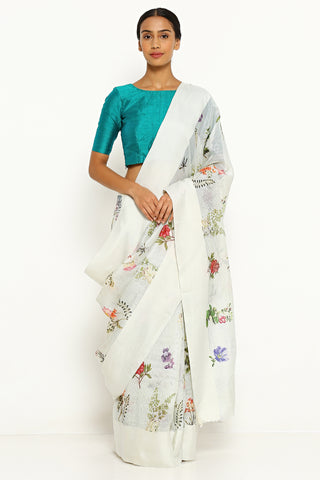 Pale Blue Pure Kota Silk Saree with All Over Floral Print