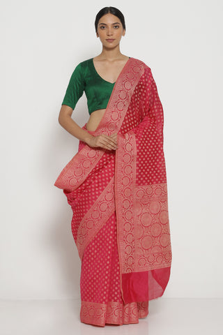 Pink Pure Silk Cotton Banarasi Saree with All Over Traditional Motifs and Woven Border