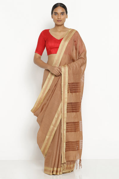 Via East brown handloom pure cotton kota saree with all over checked pattern