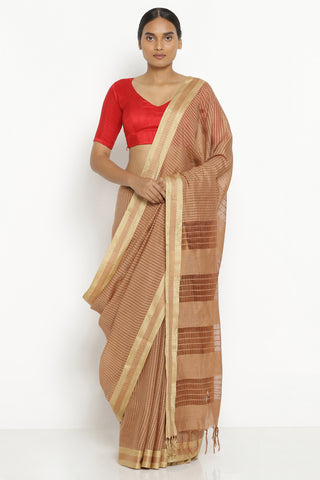 Brown Handloom Pure Cotton Kota Saree with All Over Checked Pattern