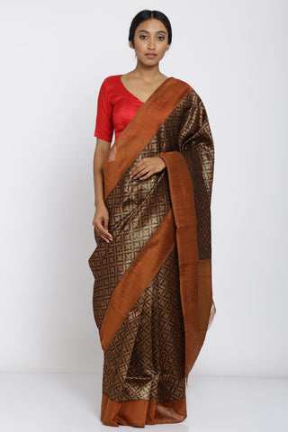 Brown Handloom Pure Silk Tanchoi Saree with All Over Zari Work