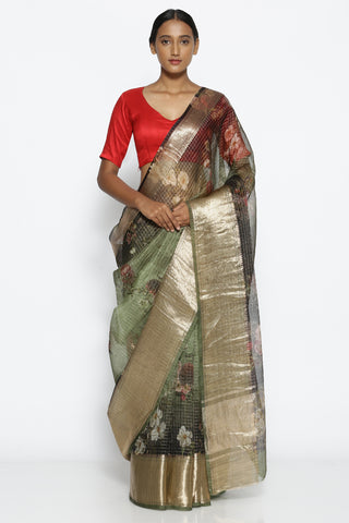 Forest Green Pure Silk-Organza Saree with Floral Print Over Zari Checks